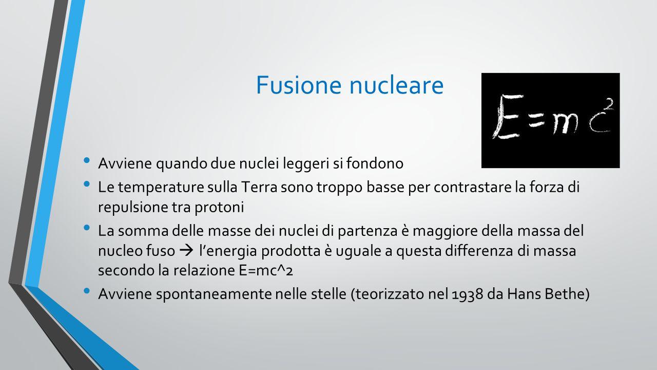 Fusione nucleare Avviene quando due nuclei leggeri si fondono