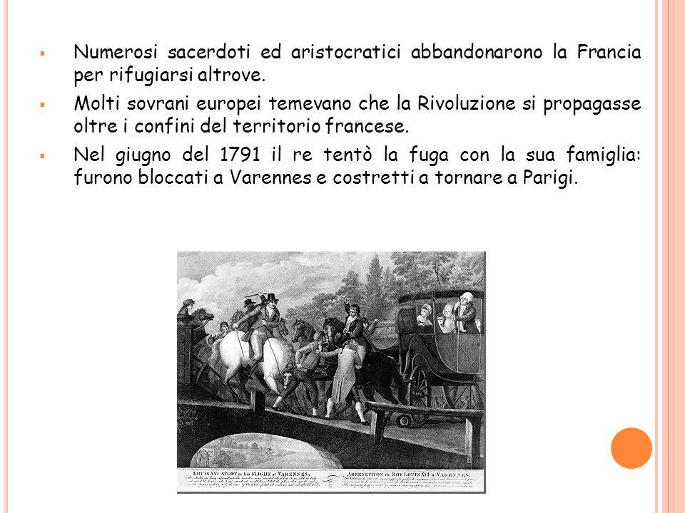 Numerosi sacerdoti ed aristocratici abbandonarono la Francia per rifugiarsi altrove.