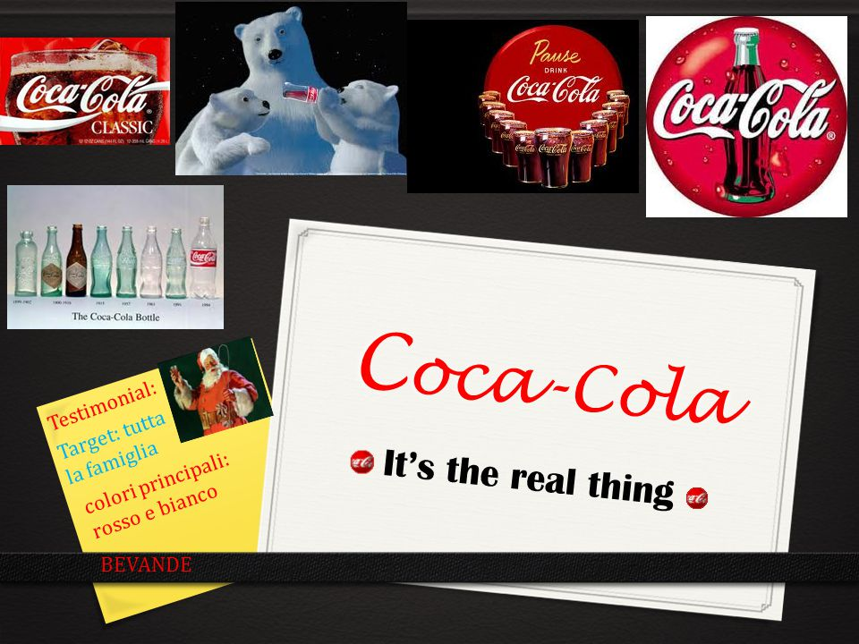 Coca-Cola It's the real thing Testimonial: Target: tutta la famiglia