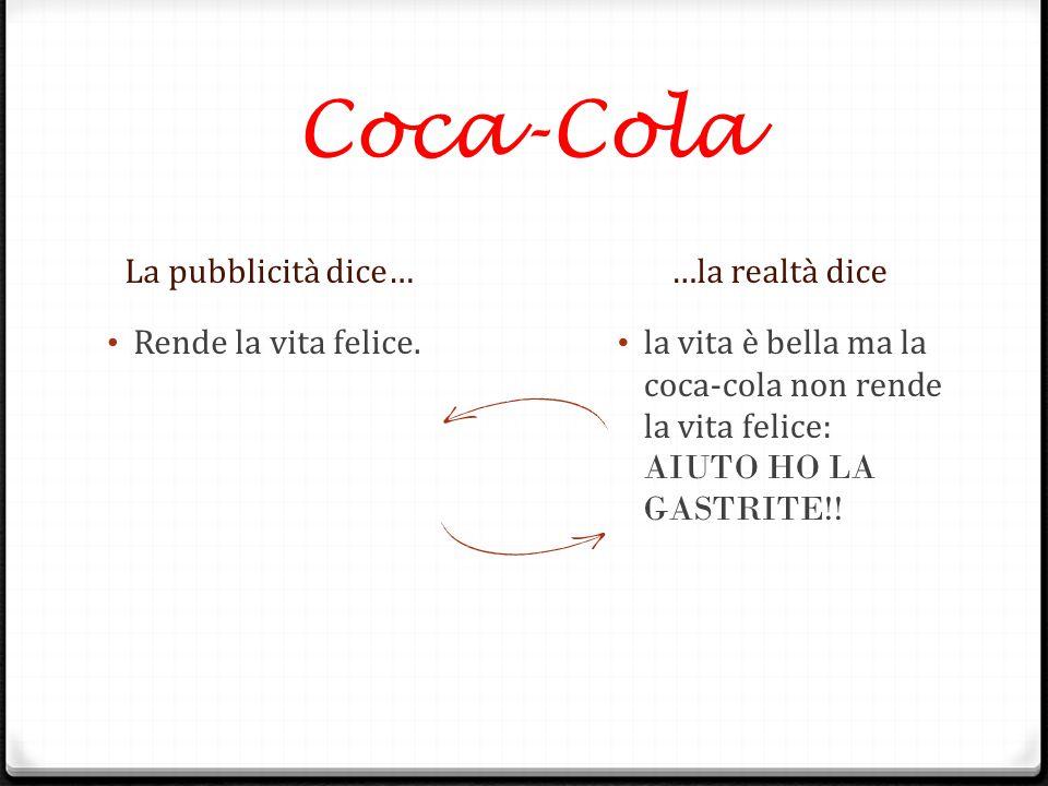 Coca-Cola La pubblicità dice… …la realtà dice Rende la vita felice.