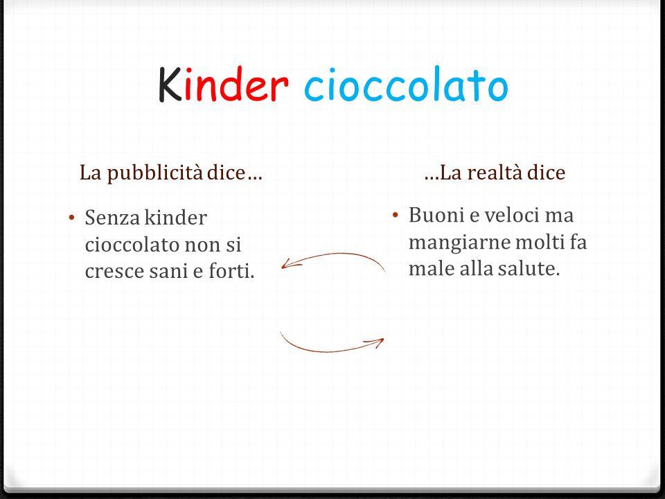Kinder cioccolato La pubblicità dice… …La realtà dice