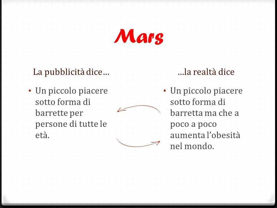 Mars La pubblicità dice… …la realtà dice