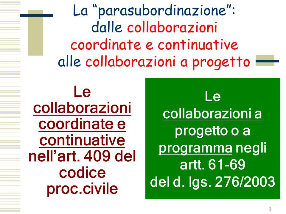 La parasubordinazione : dalle collaborazioni coordinate e continuative alle collaborazioni a progetto
