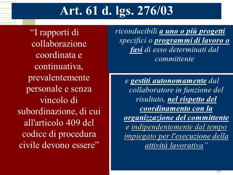 Art. 61 d. lgs. 276/03