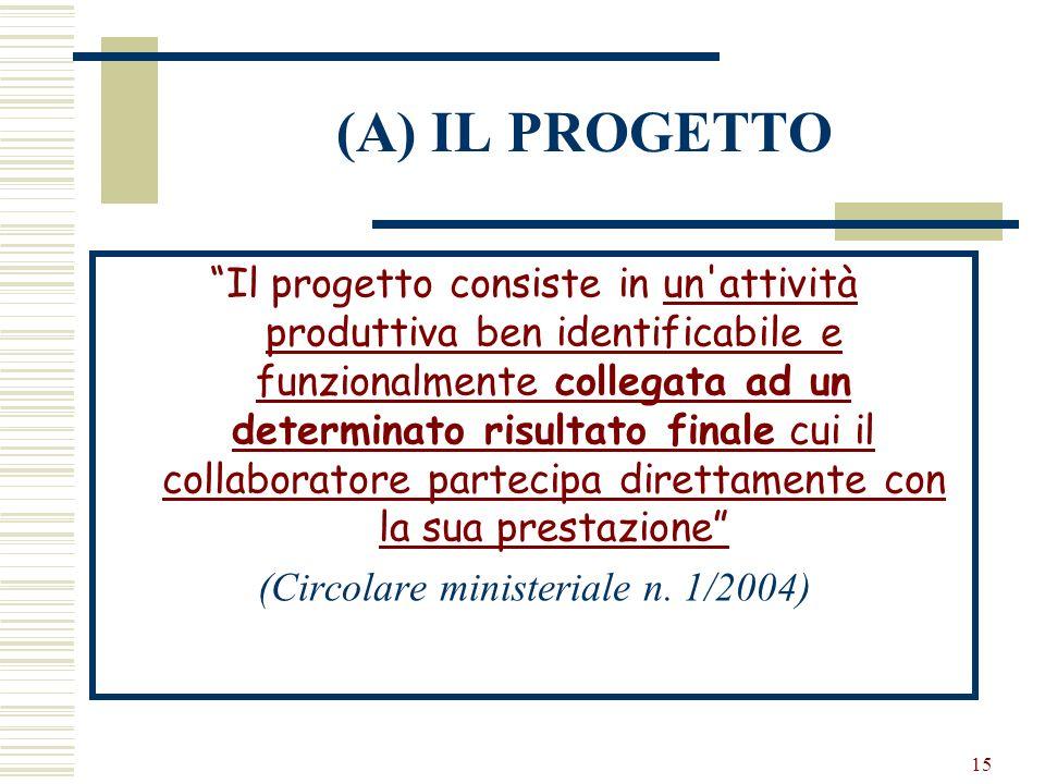 (Circolare ministeriale n. 1/2004)