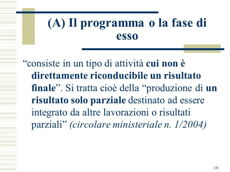 (A) Il programma o la fase di esso