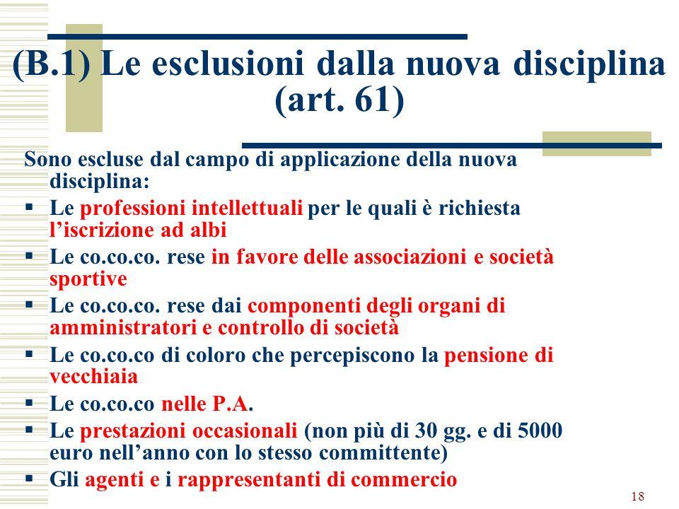 (B.1) Le esclusioni dalla nuova disciplina (art. 61)