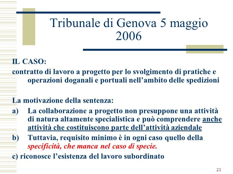 Tribunale di Genova 5 maggio 2006