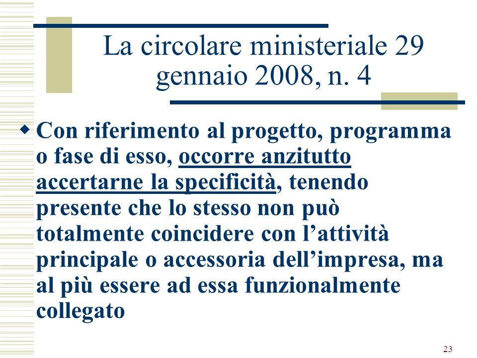 La circolare ministeriale 29 gennaio 2008, n. 4