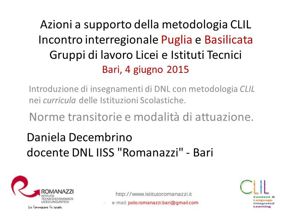 Daniela Decembrino docente DNL IISS Romanazzi - Bari
