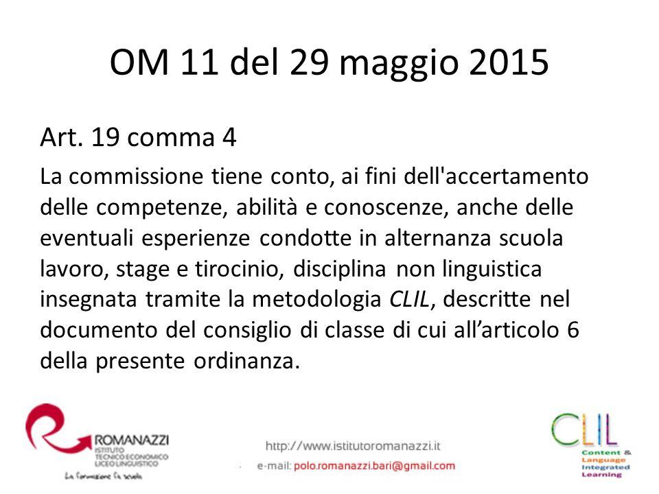 OM 11 del 29 maggio 2015 Art. 19 comma 4.
