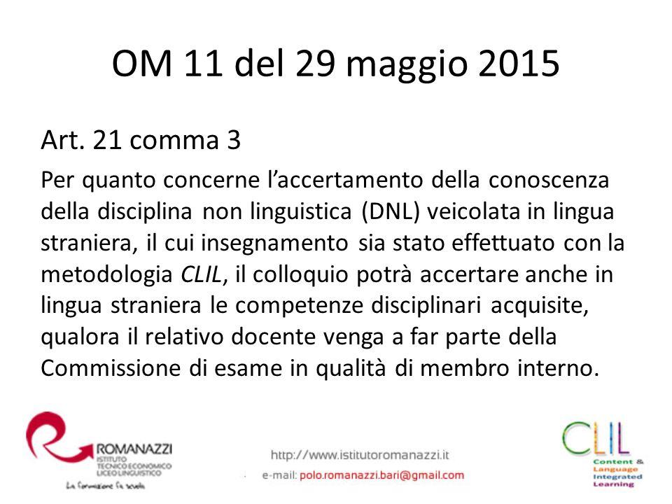 OM 11 del 29 maggio 2015 Art. 21 comma 3.