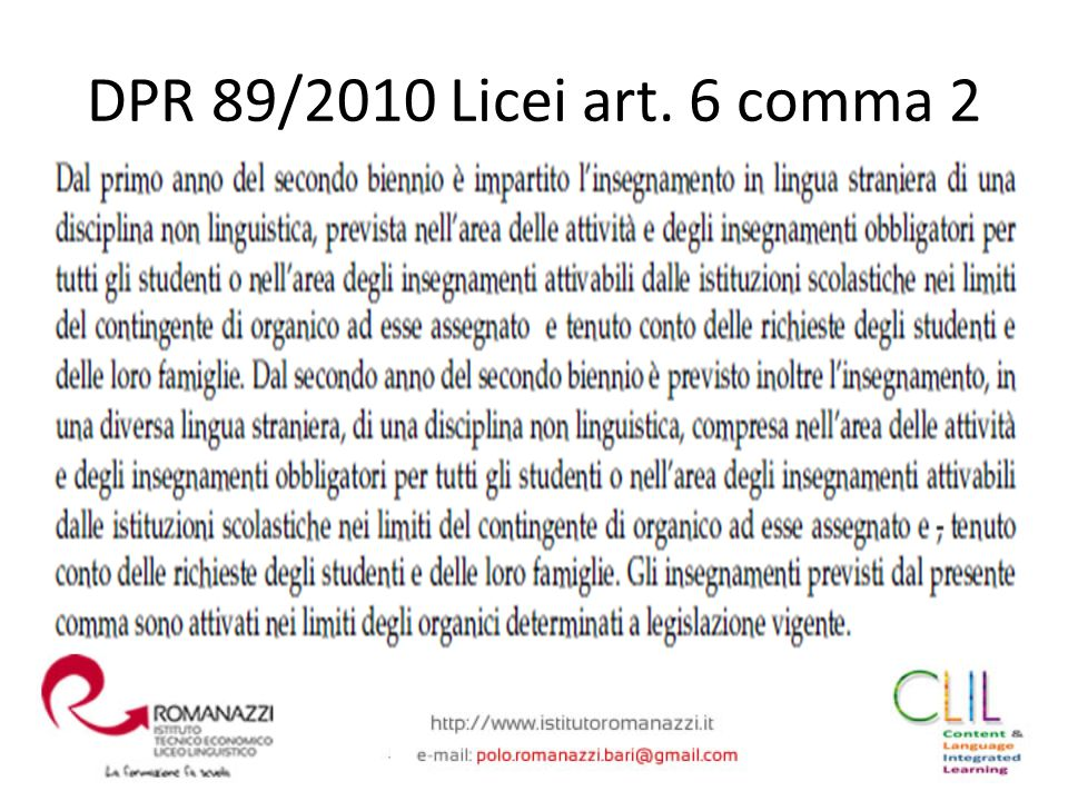 DPR 89/2010 Licei art. 6 comma 2