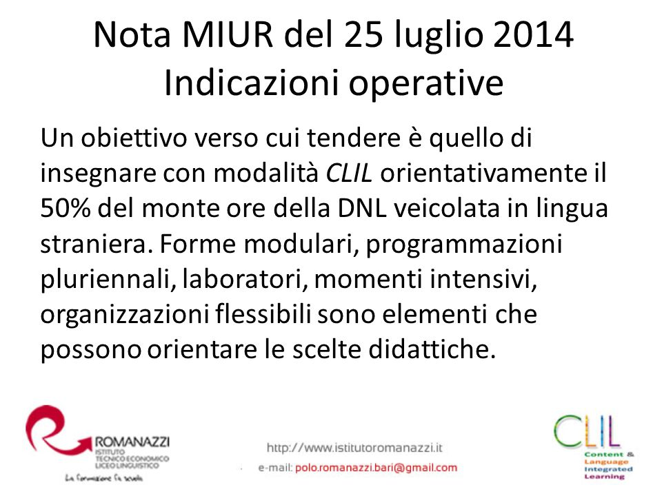 Nota MIUR del 25 luglio 2014 Indicazioni operative