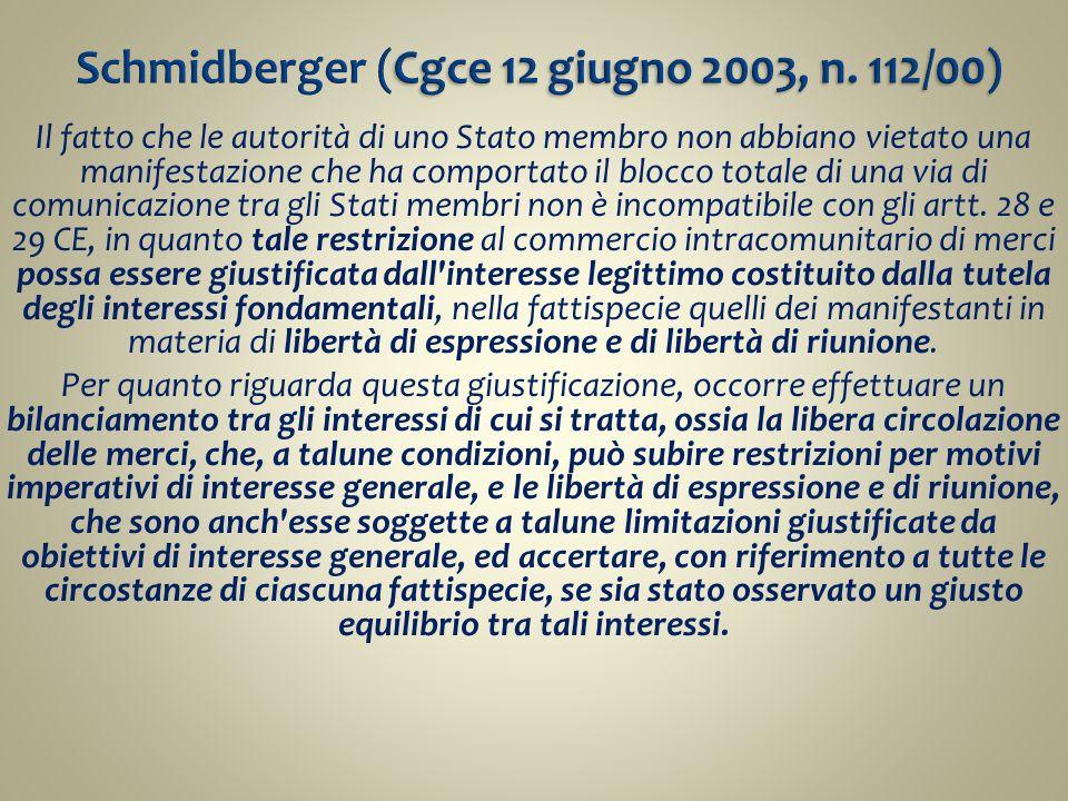 Schmidberger (Cgce 12 giugno 2003, n. 112/00)