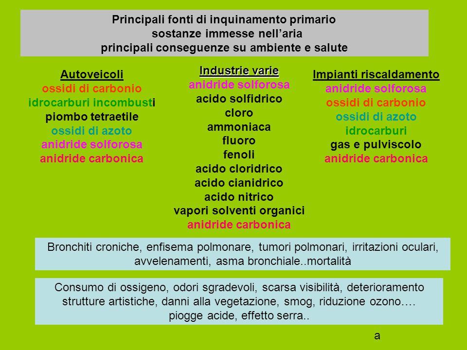 Principali fonti di inquinamento primario sostanze immesse nell'aria principali conseguenze su ambiente e salute