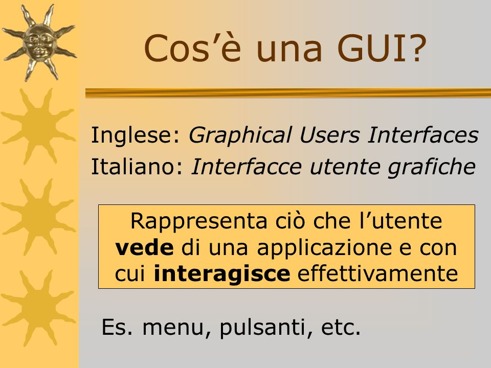 Cos'è una GUI Inglese: Graphical Users Interfaces