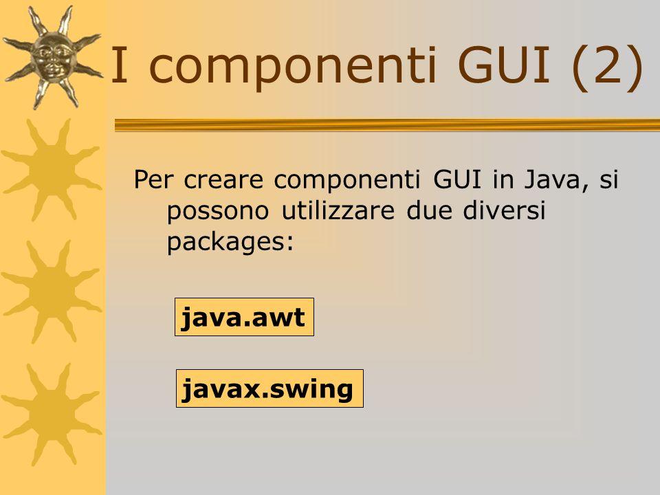 I componenti GUI (2)Per creare componenti GUI in Java, si possono utilizzare due diversi packages: java.awt.