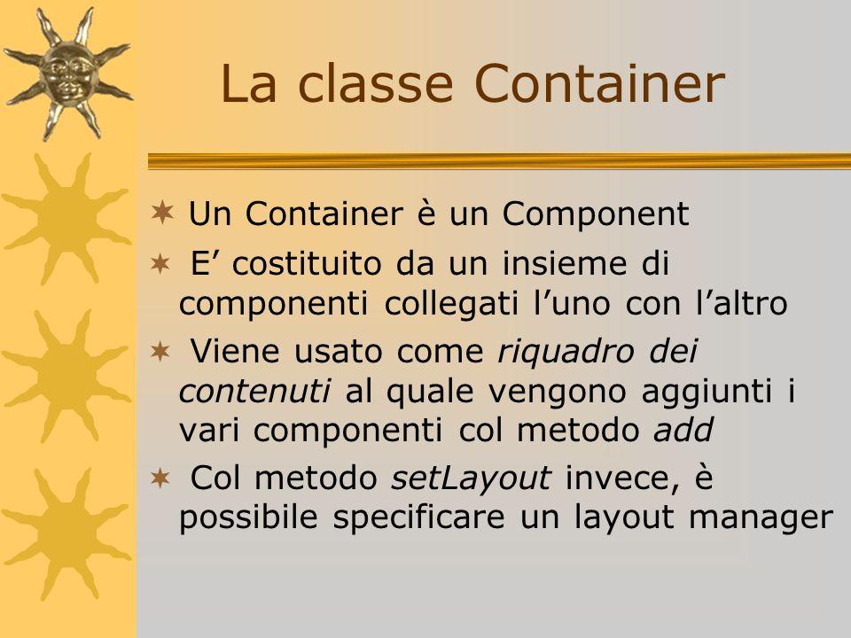 La classe Container Un Container è un Component