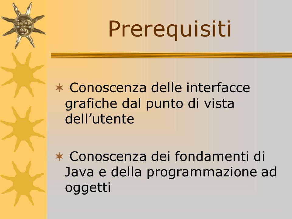PrerequisitiConoscenza delle interfacce grafiche dal punto di vista dell'utente.