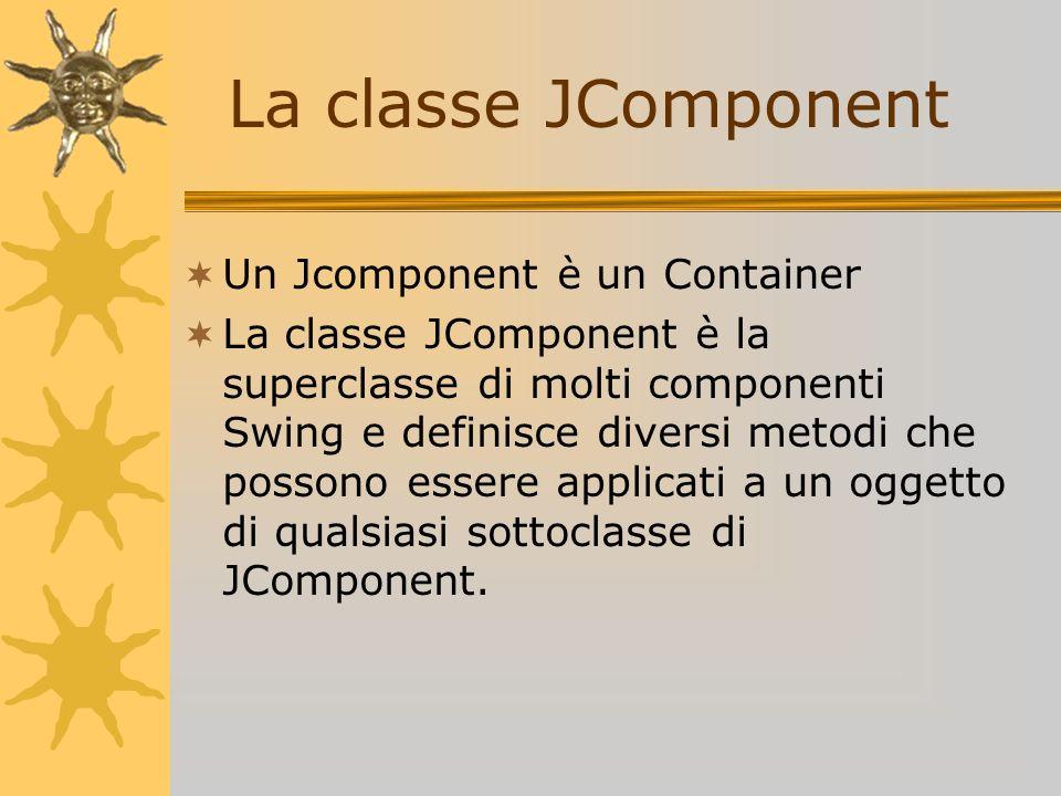 La classe JComponent Un Jcomponent è un Container