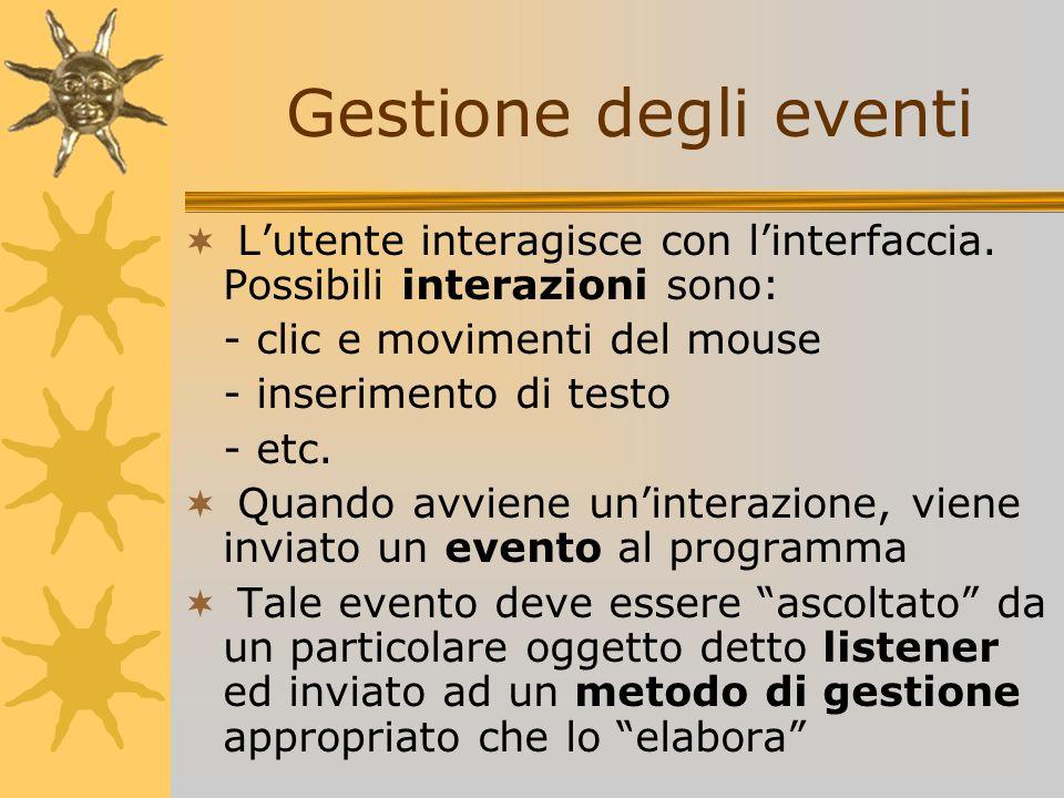 Gestione degli eventi L'utente interagisce con l'interfaccia. Possibili interazioni sono: - clic e movimenti del mouse.