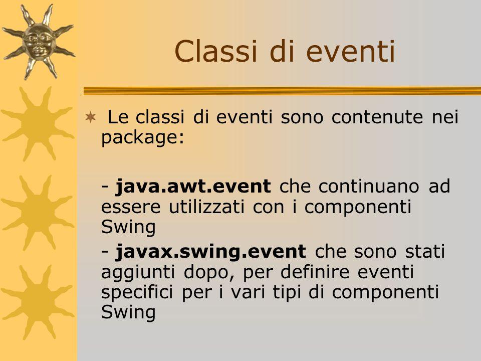 Classi di eventi Le classi di eventi sono contenute nei package: