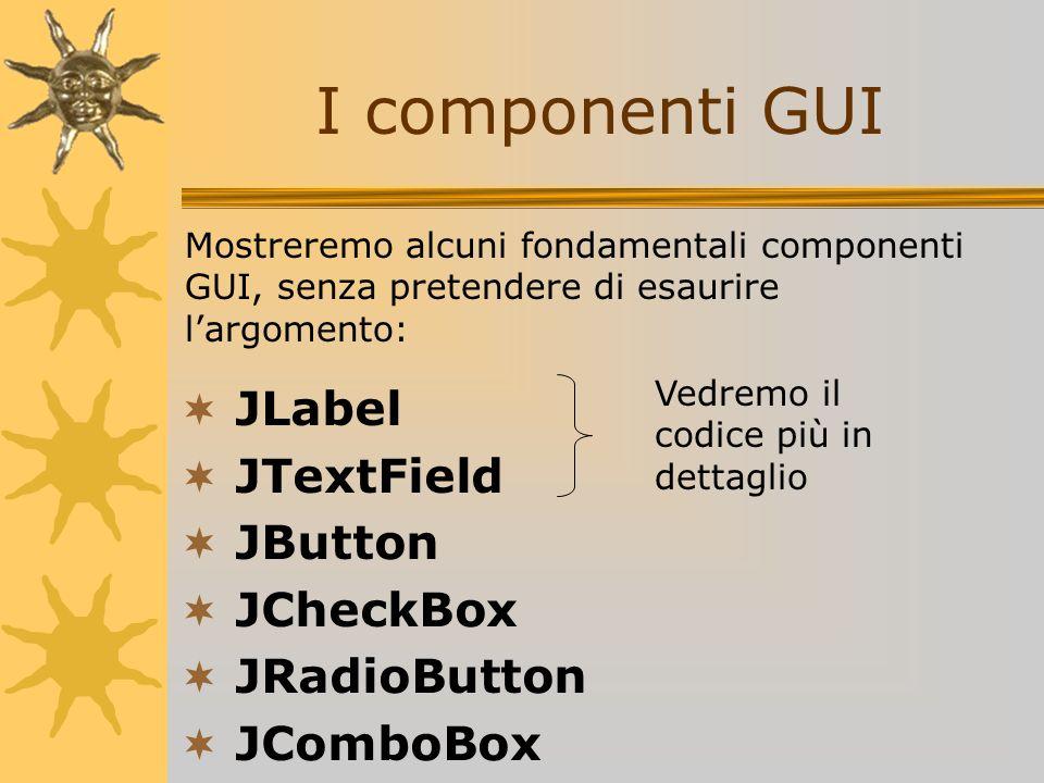 I componenti GUI JLabel JTextField JButton JCheckBox JRadioButton