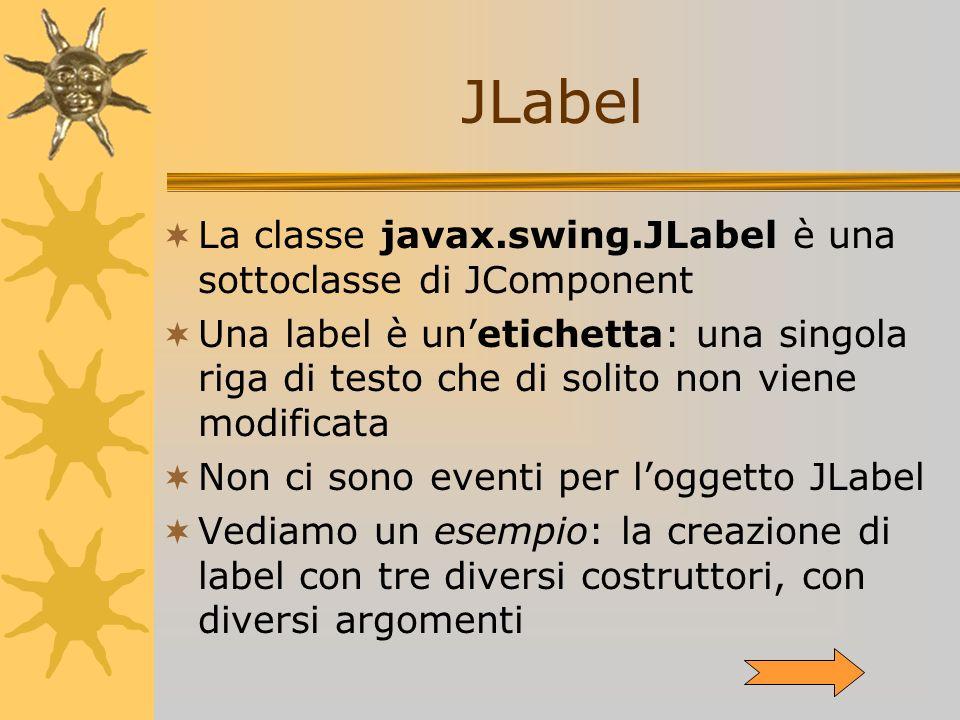 JLabel La classe javax.swing.JLabel è una sottoclasse di JComponent