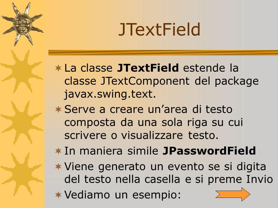 JTextField La classe JTextField estende la classe JTextComponent del package javax.swing.text.