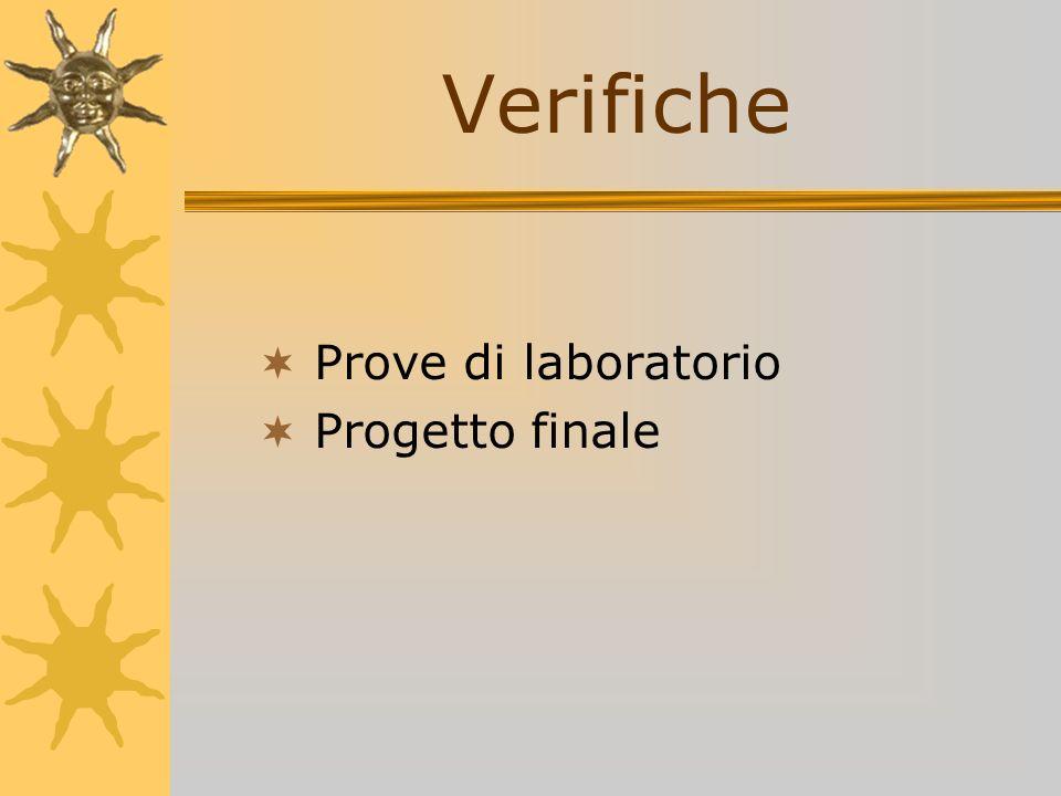 Verifiche Prove di laboratorio Progetto finale