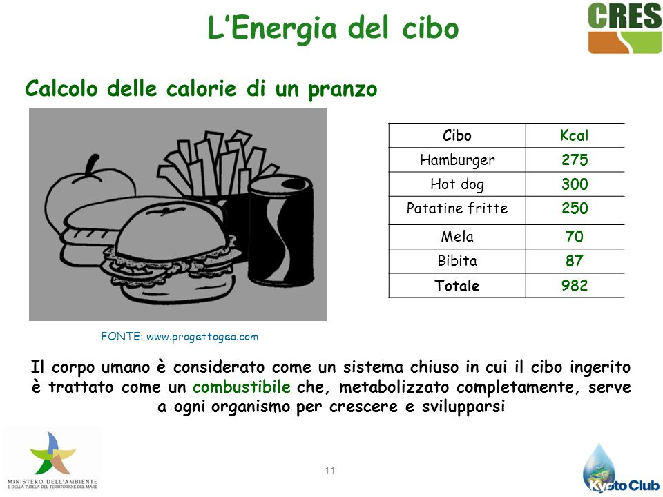 Calcolo delle calorie di un pranzo
