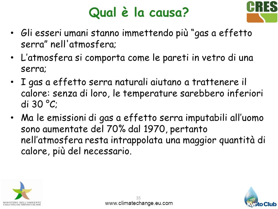 Qual è la causa Gli esseri umani stanno immettendo più gas a effetto serra nell atmosfera;