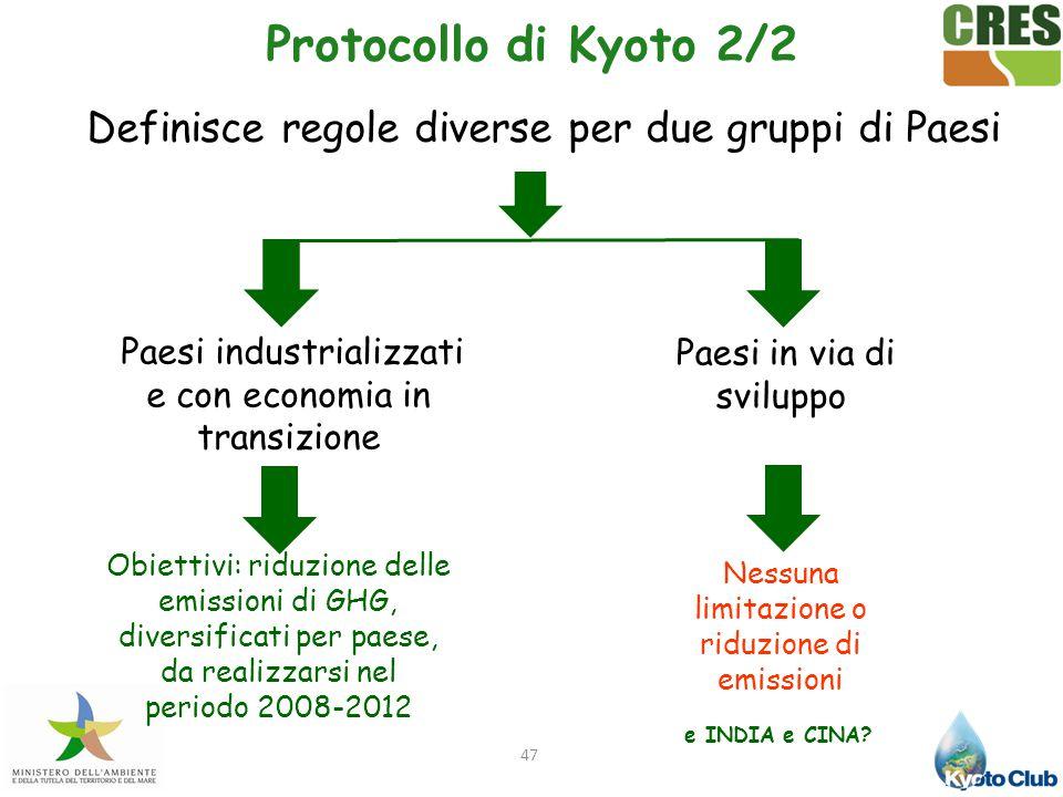 Protocollo di Kyoto 2/2 Definisce regole diverse per due gruppi di Paesi. Paesi industrializzati e con economia in transizione.