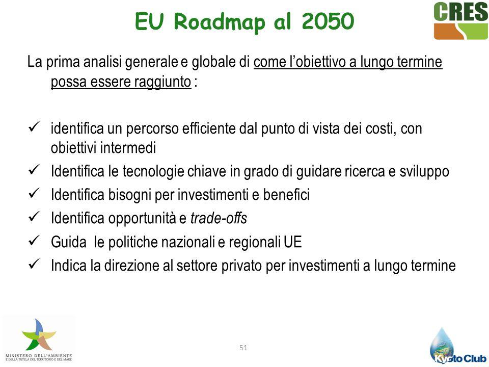 EU Roadmap al 2050 La prima analisi generale e globale di come l'obiettivo a lungo termine possa essere raggiunto :