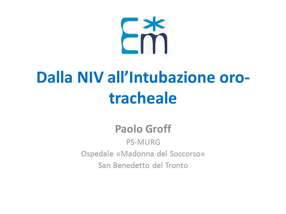 Dalla NIV all'Intubazione oro-tracheale