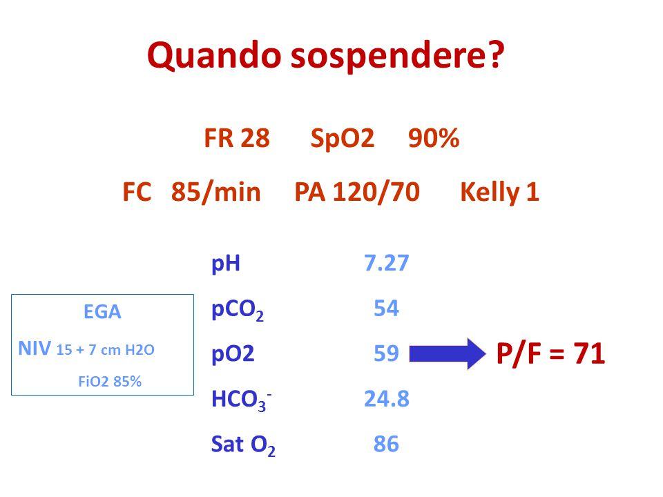 Quando sospendere P/F = 71 FR 28 SpO2 90% FC 85/min PA 120/70 Kelly 1