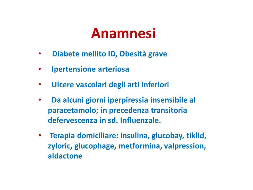 Anamnesi Diabete mellito ID, Obesità grave Ipertensione arteriosa