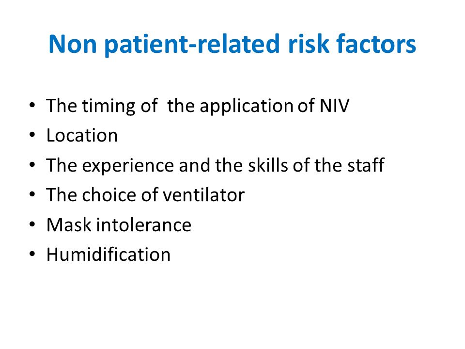 Non patient-related risk factors