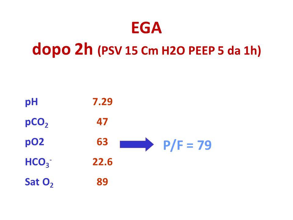 EGA dopo 2h (PSV 15 Cm H2O PEEP 5 da 1h)