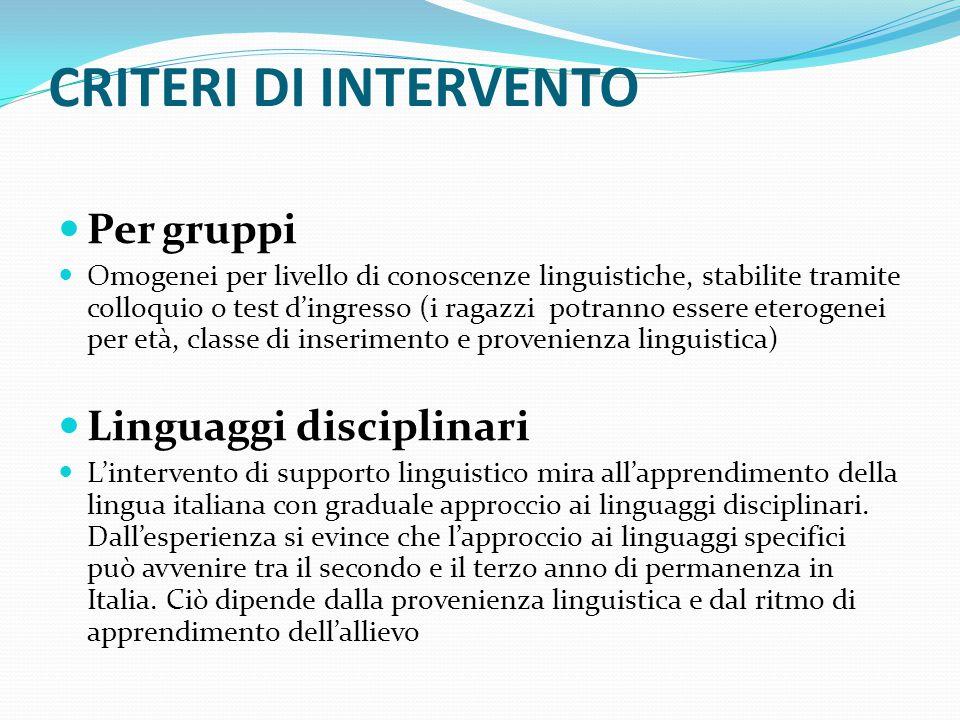 CRITERI DI INTERVENTO Per gruppi Linguaggi disciplinari