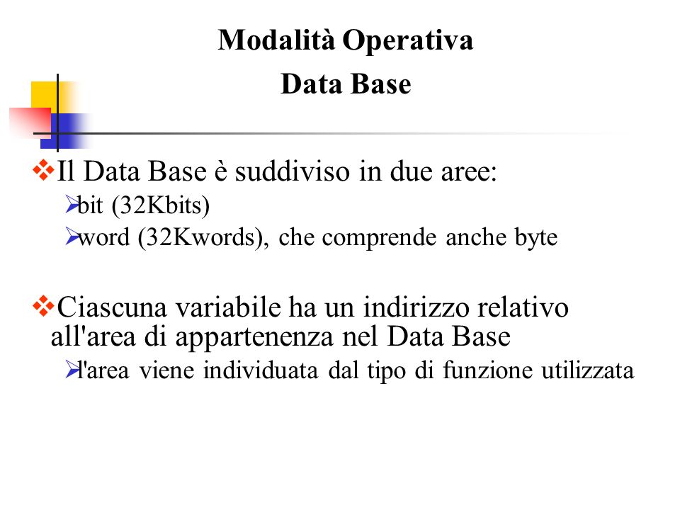 Modalità Operativa Data Base