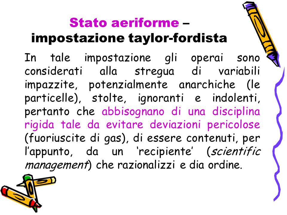 Stato aeriforme – impostazione taylor-fordista