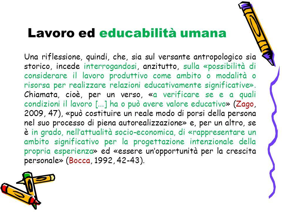 Lavoro ed educabilità umana