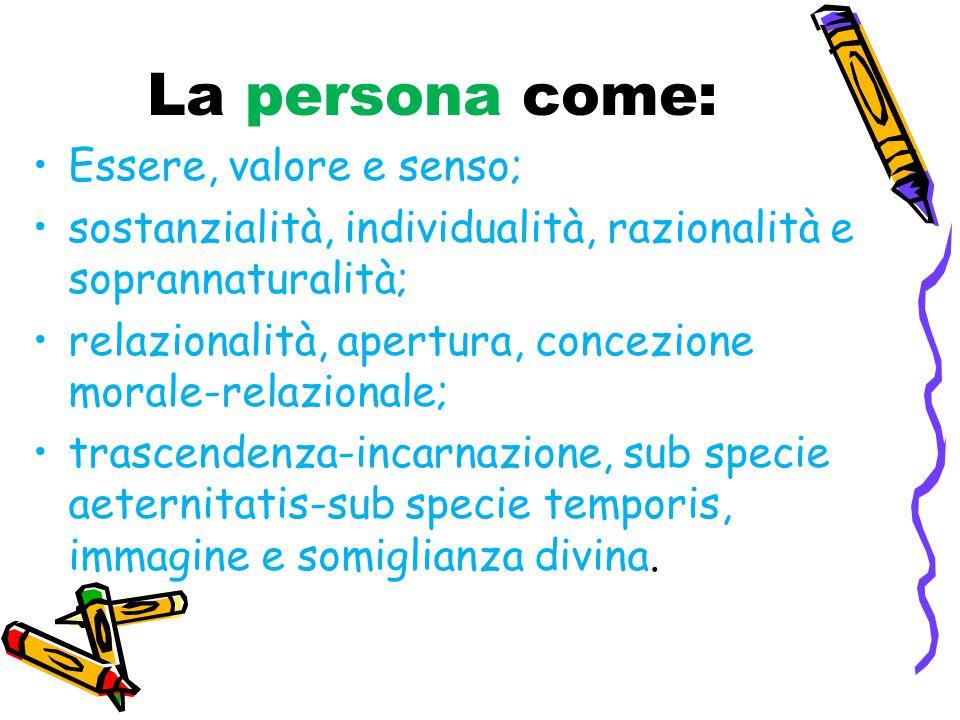 La persona come: Essere, valore e senso;