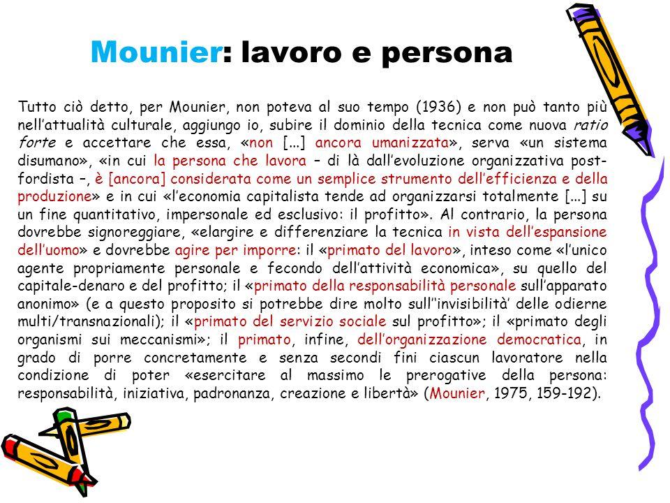 Mounier: lavoro e persona