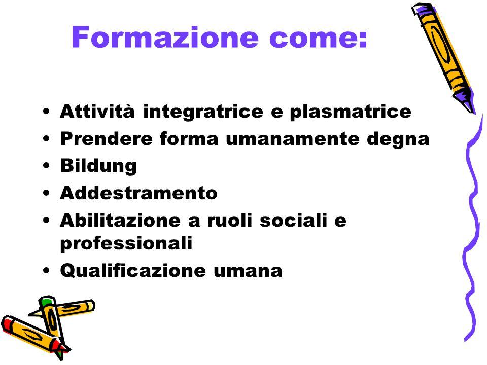 Formazione come: Attività integratrice e plasmatrice