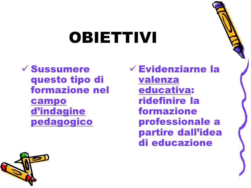 OBIETTIVI Sussumere questo tipo di formazione nel campo d'indagine pedagogico.