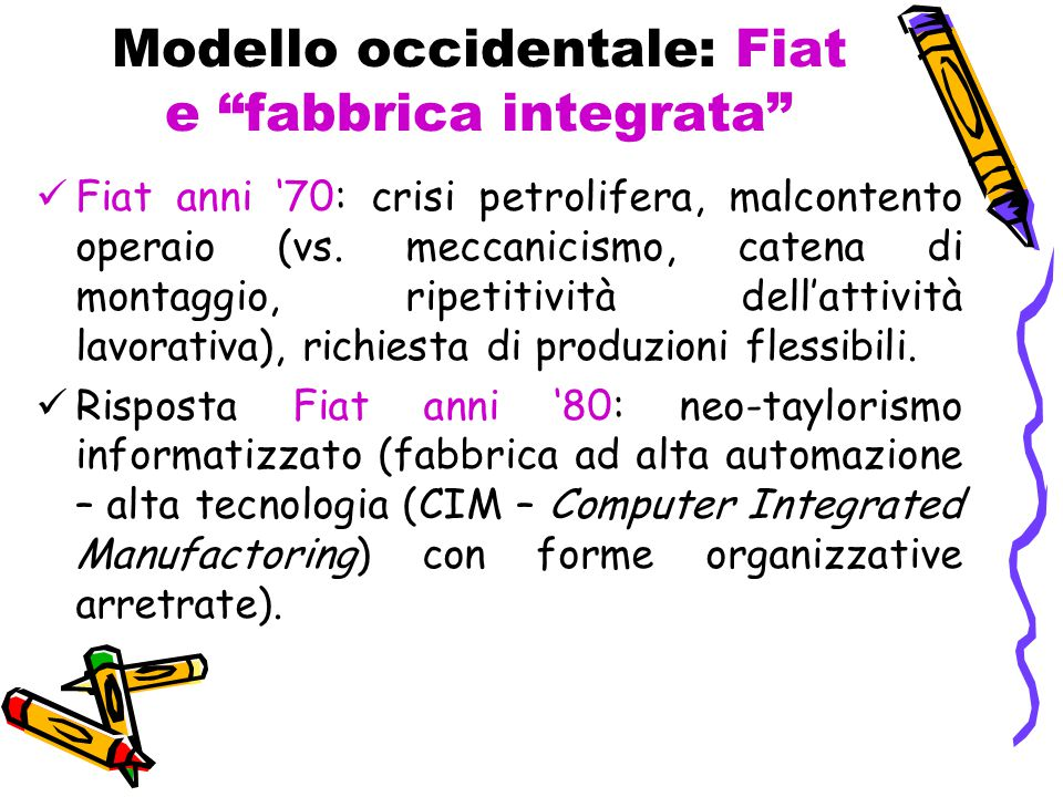 Modello occidentale: Fiat e fabbrica integrata