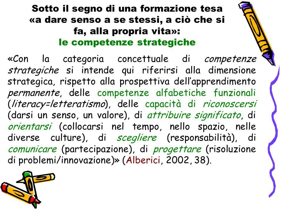 Sotto il segno di una formazione tesa «a dare senso a se stessi, a ciò che si fa, alla propria vita»: le competenze strategiche